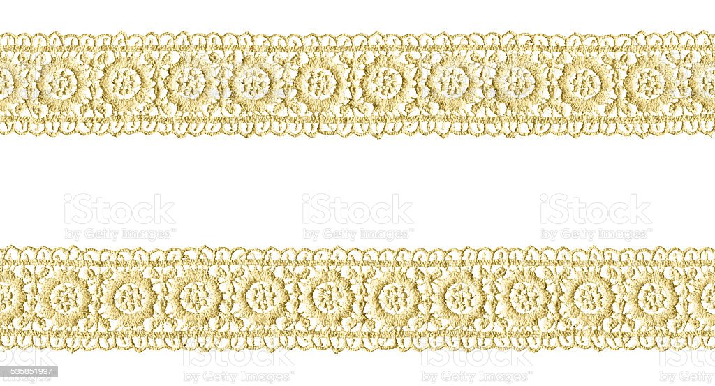 Yellow Lace frame isolated on white background stock photo