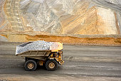Yellow large dump truck in Utah copper mine seen from above