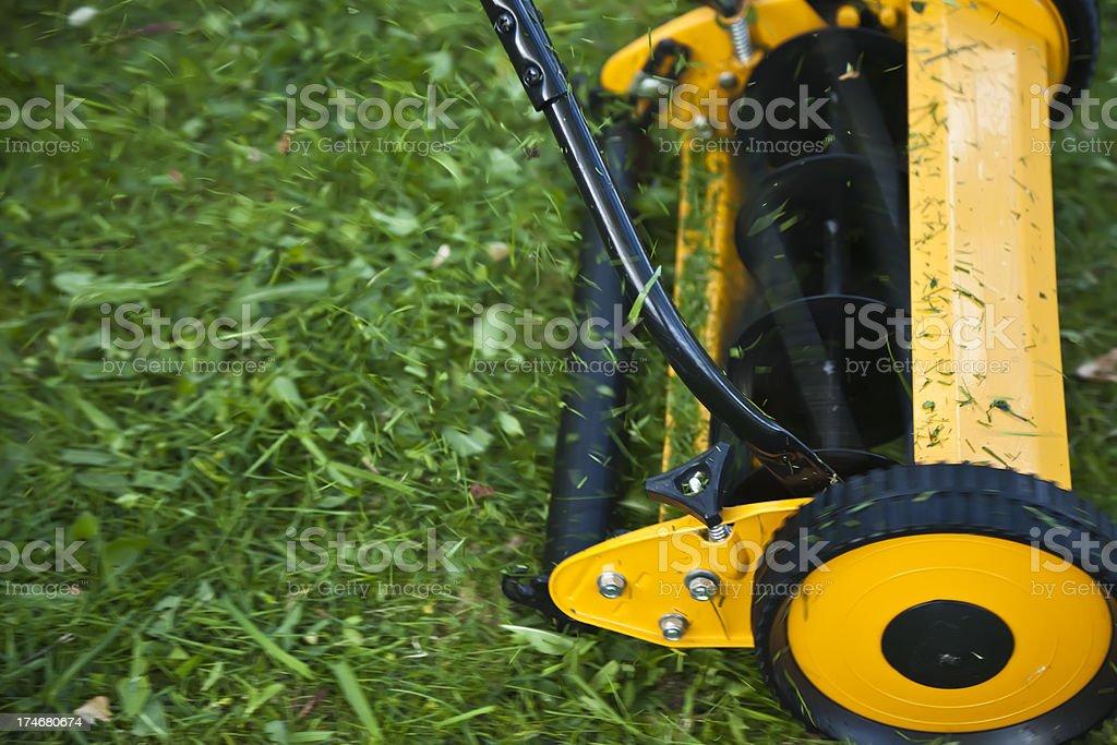 Yellow Lawn Mower. stock photo