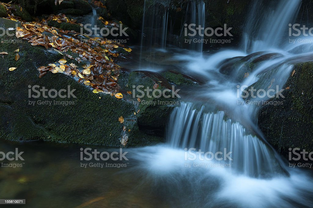 Yellow Leaves line waterfall - Gatlinburg, Tennessee royalty-free stock photo