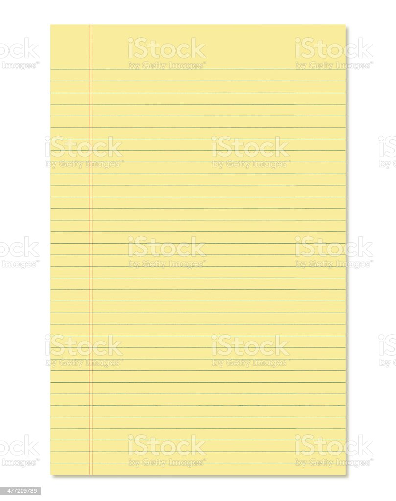 Yellow Legal Pad (with path) stock photo