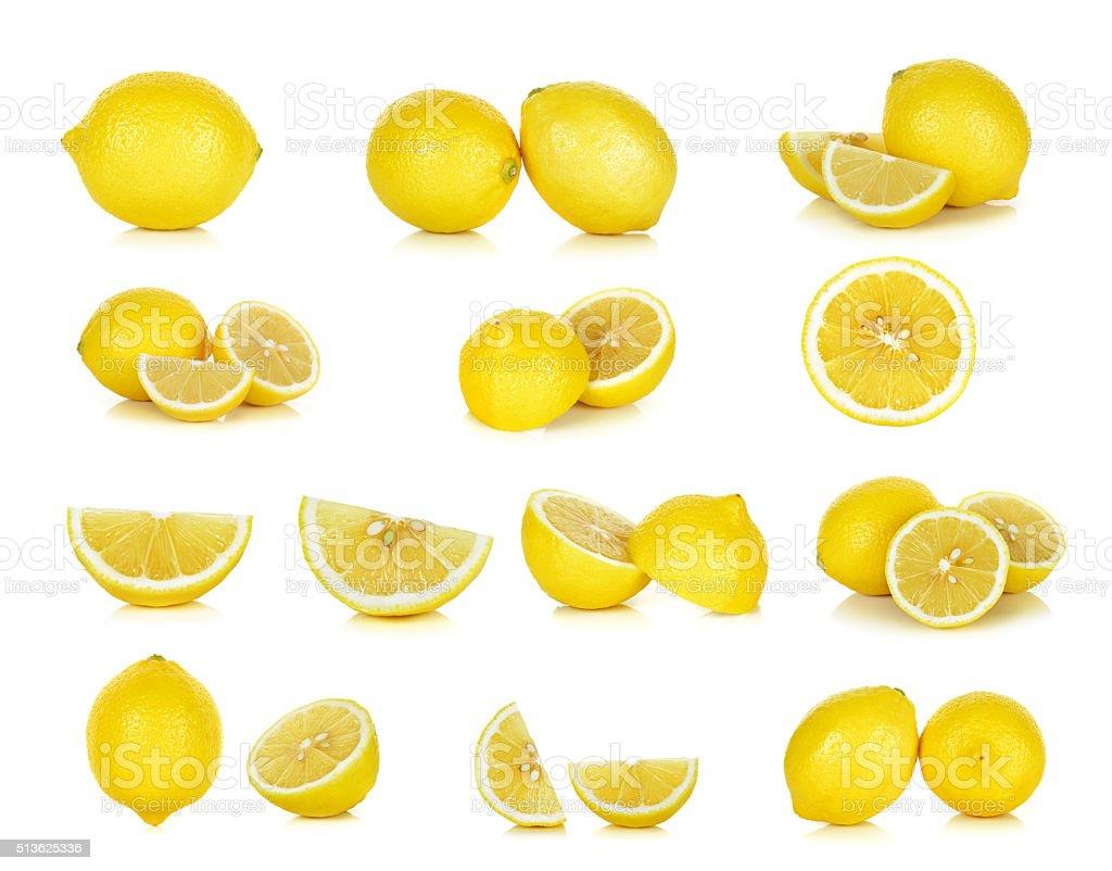 Yellow Lemon isolated on the white background stock photo