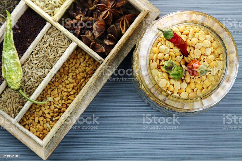 Yellow lentil beans or Arhar daal stock photo