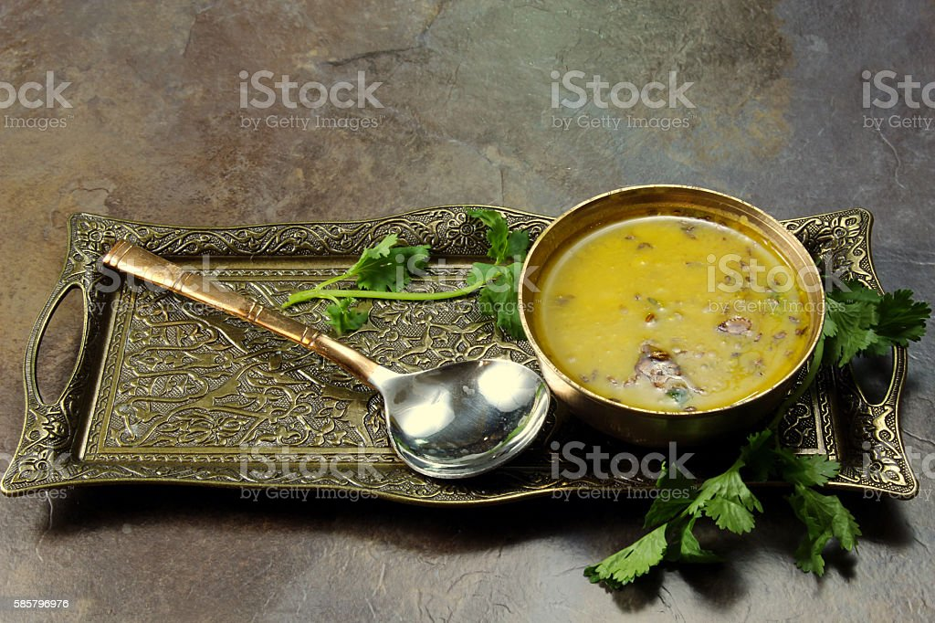 Yellow Lentil soup or Arhar Daal stock photo