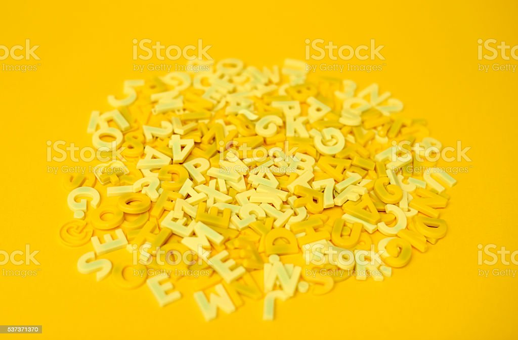 yellow letters stock photo