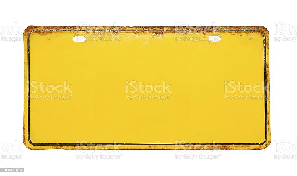 Yellow License Plate stock photo