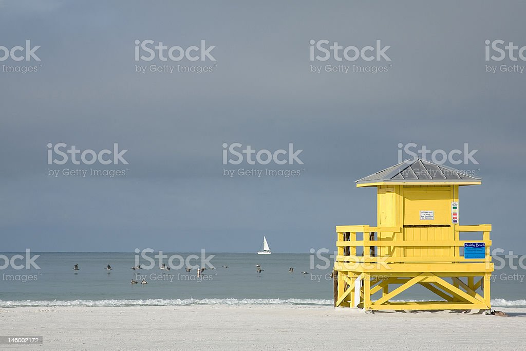 Yellow Lifeguard Hut stock photo