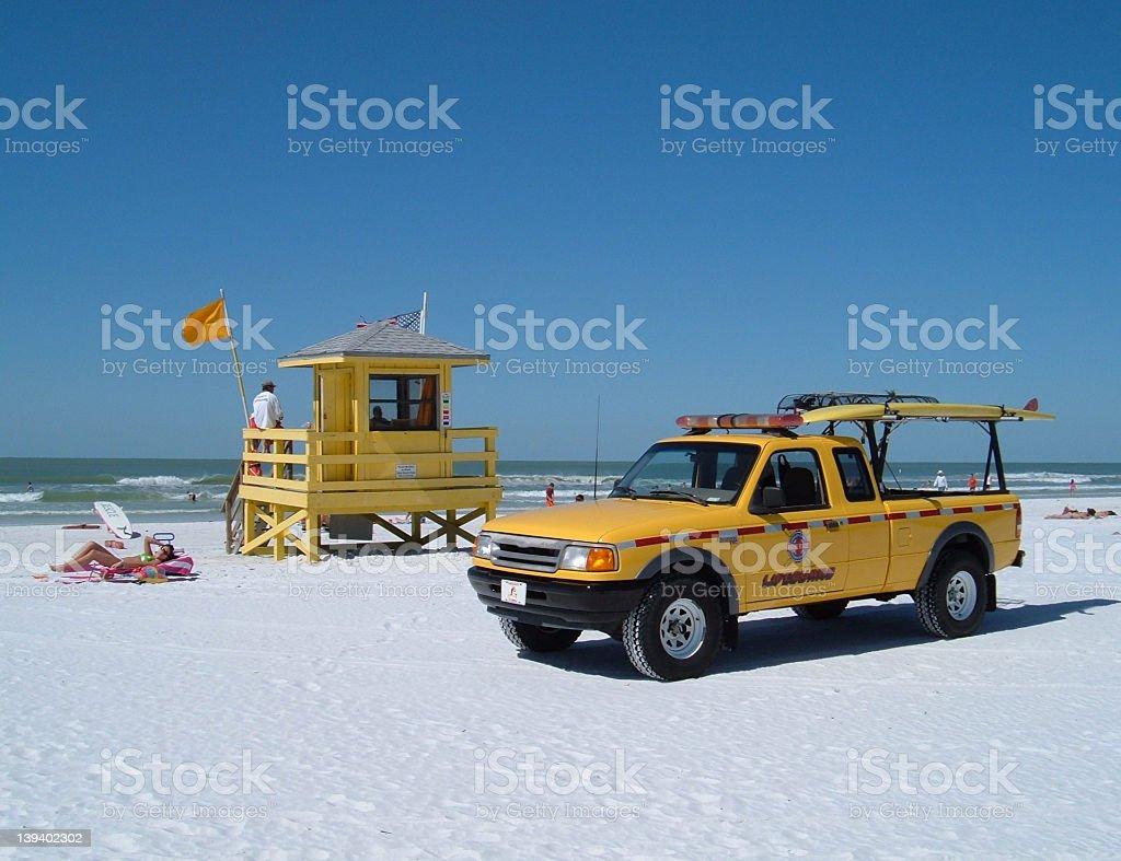 Yellow Lifeguard truck and shack #1 royalty-free stock photo