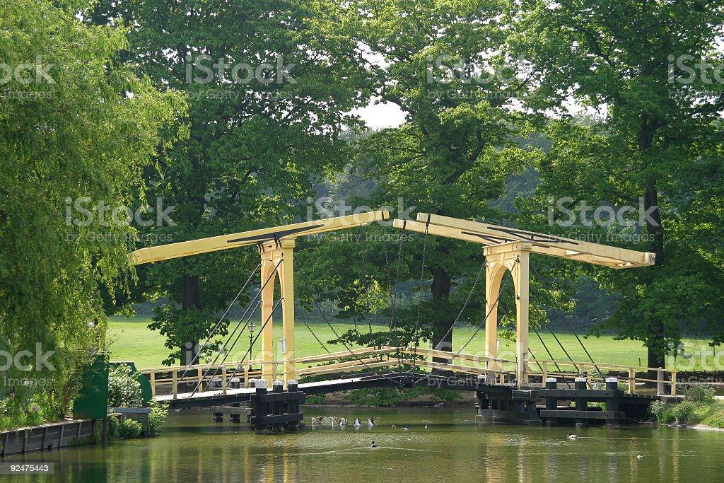 Yellow lift bridge royalty-free stock photo