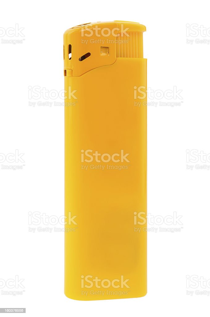Yellow lighter isolated on white background royalty-free stock photo