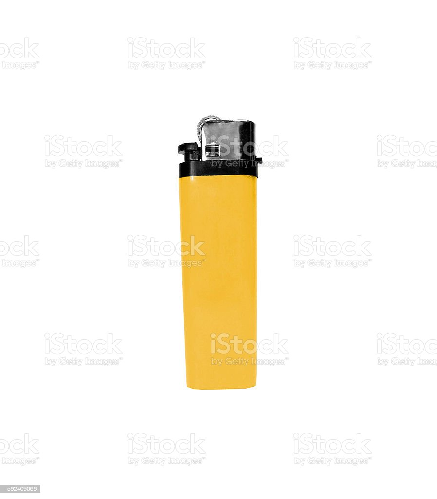 yellow lighter isolated on white stock photo