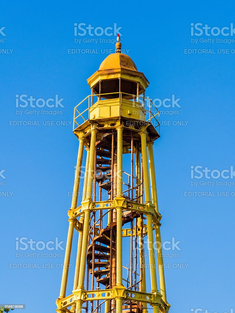 Yellow Lighthous in Puerto Plata, Dominican Republic stock photo