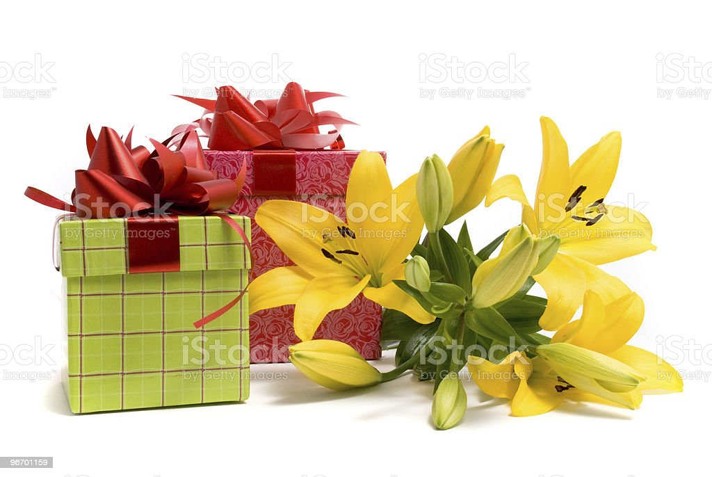 Yellow lily and gift box stock photo