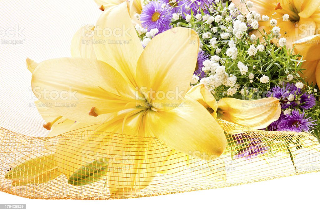 Yellow lily in a bouquet 2 royalty-free stock photo