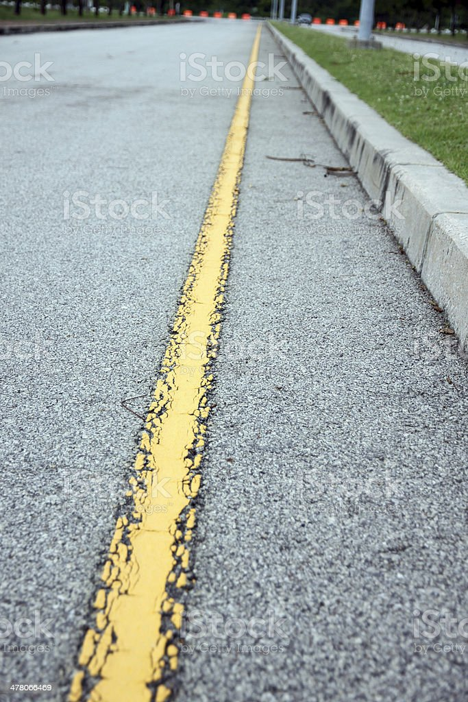 Yellow line of the road. stock photo