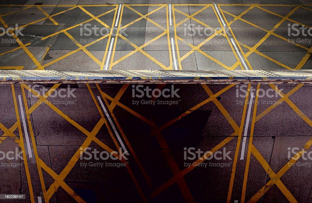 yellow line on asphalt texture royalty-free stock photo