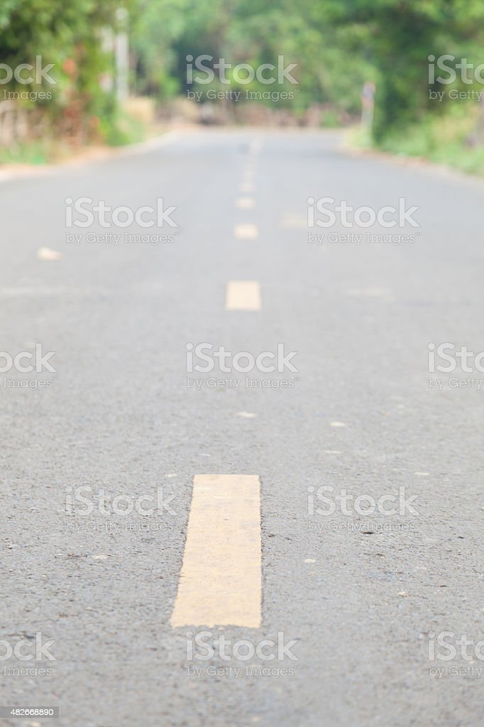 Yellow line road traffic center stock photo