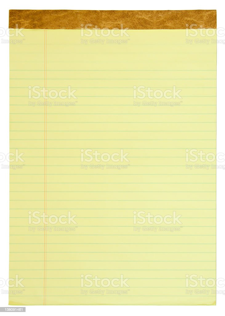 Yellow Lined Legal Pad stock photo