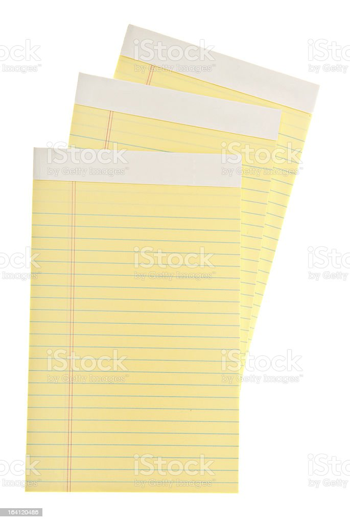 Yellow Lined Legal Paper Pad royalty-free stock photo