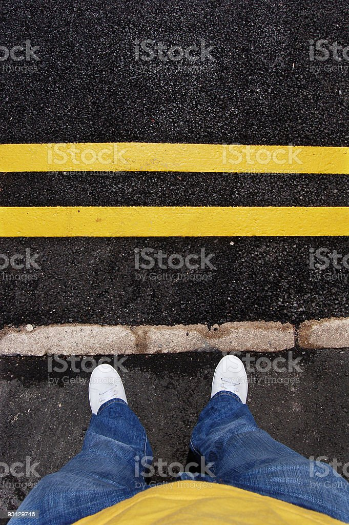 Yellow lines and Feet royalty-free stock photo