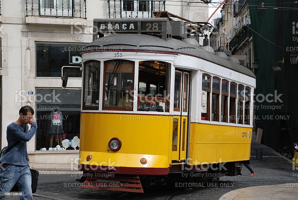 yellow lisbon cable car royalty-free stock photo