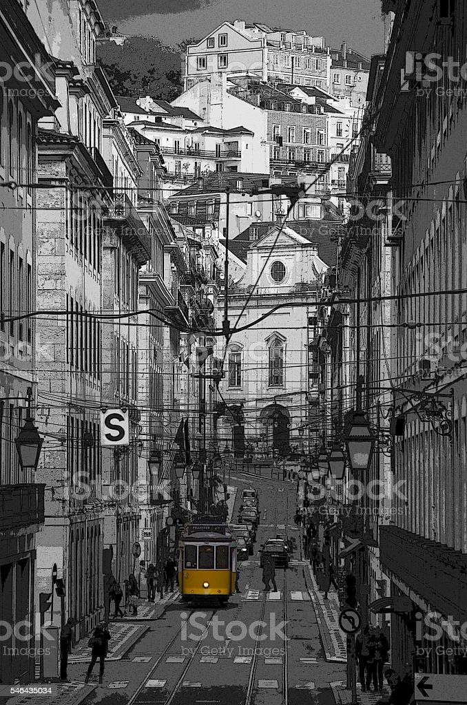 Yellow Lisbon Tram stock photo