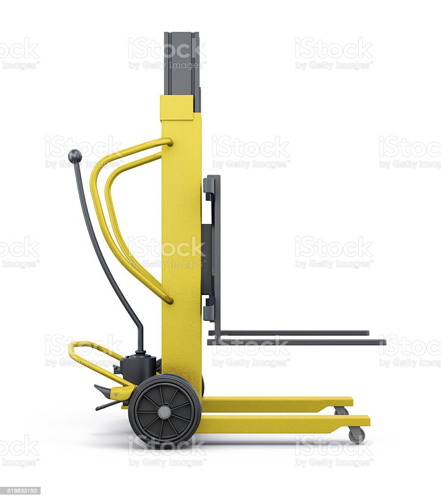 Yellow loader isolated on white background. 3d rendering stock photo