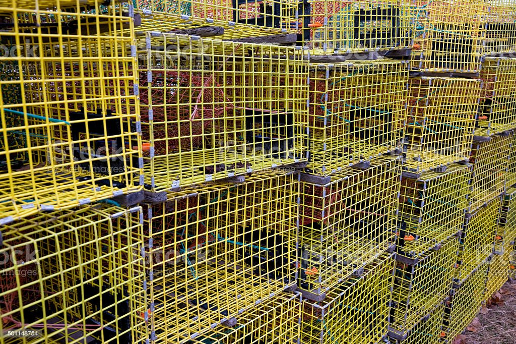 Yellow lobster traps in Maine stock photo