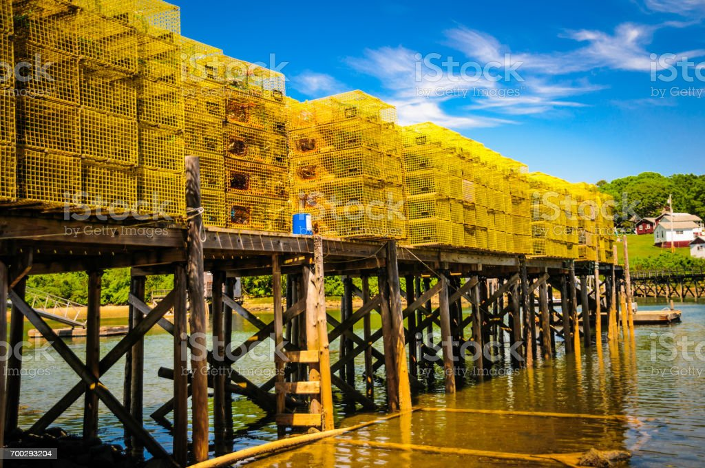 Yellow Lobster Traps stock photo