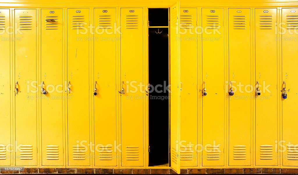 Yellow Lockers stock photo