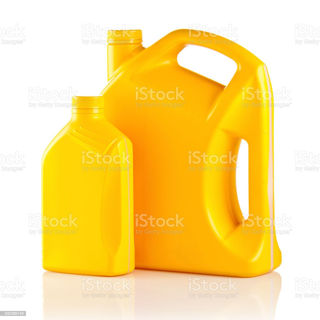Yellow Lubricant Canister stock photo