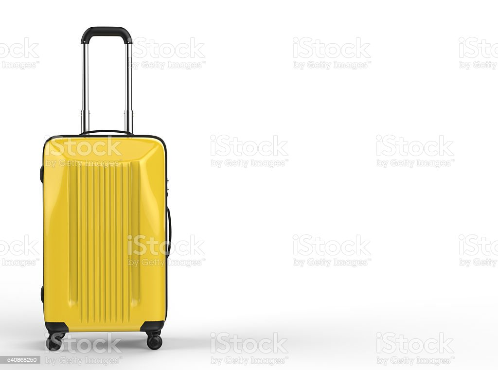 yellow luggage stock photo