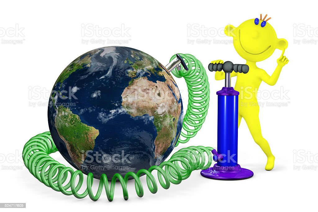 Yellow man pumps a planet Earth stock photo