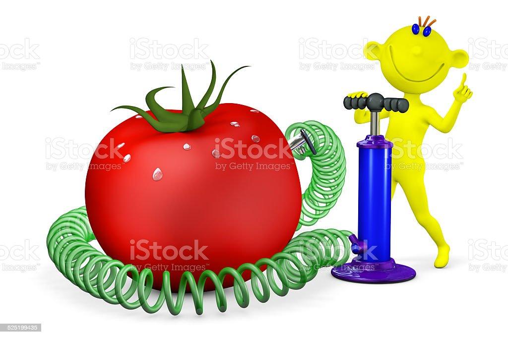 Yellow man pumps a tomato stock photo