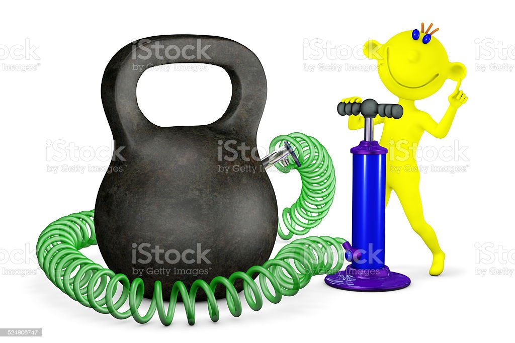 Yellow man swings the pump the weight stock photo