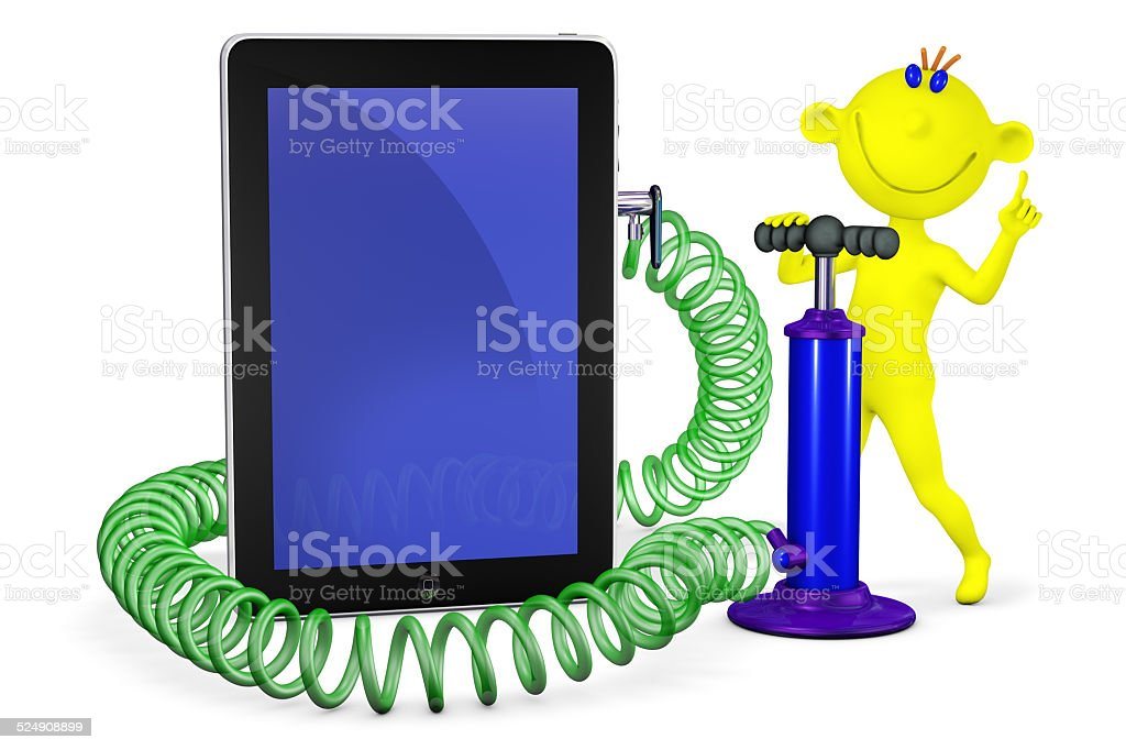 Yellow man the air pump pumps up phone stock photo
