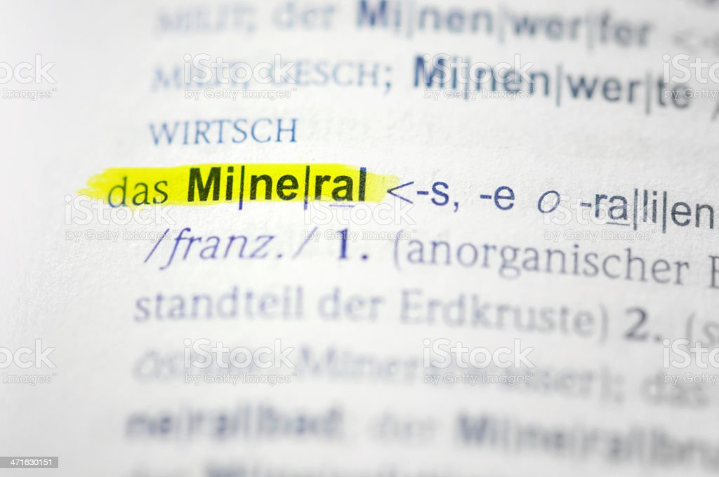 yellow marked german word Mineral stock photo