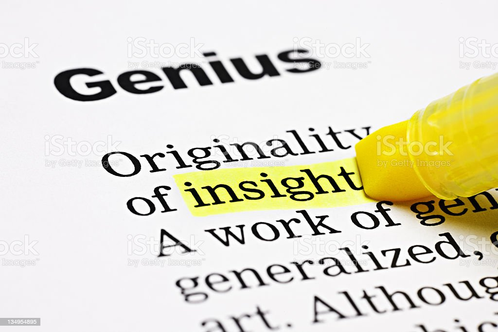 Yellow marker highlights 'insight' under the general heading 'Genius' royalty-free stock photo