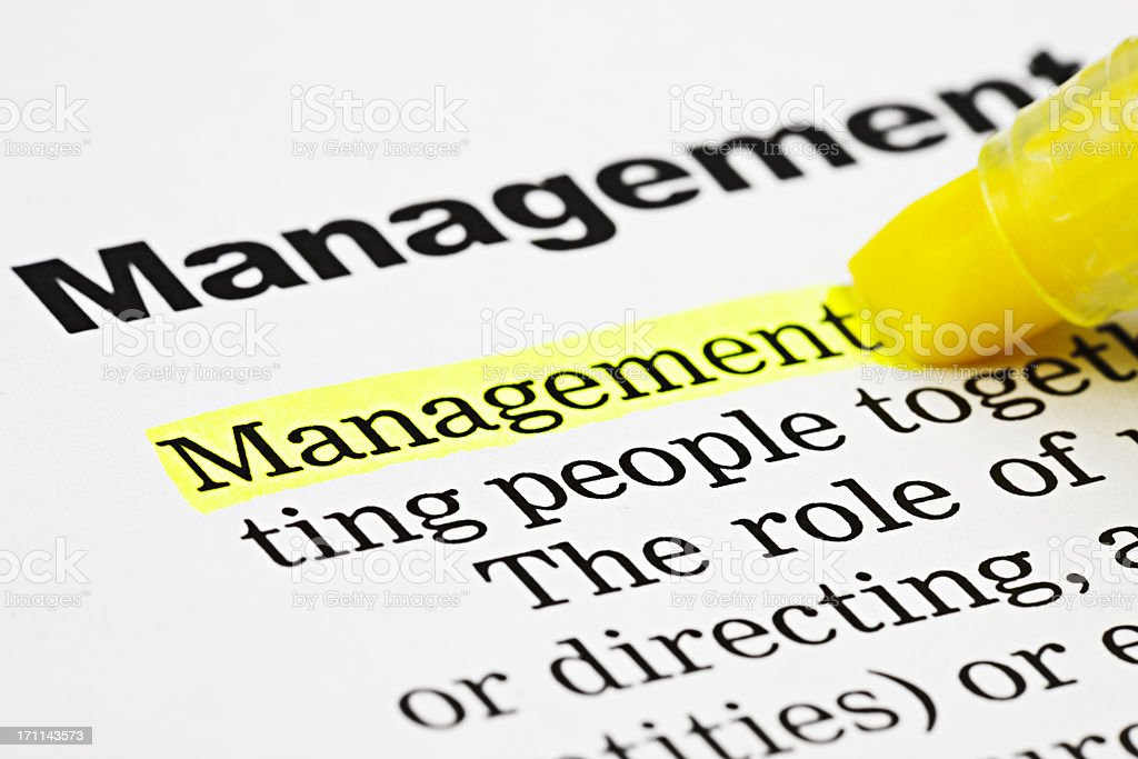 Yellow marker highlights the word 'Management' in a text royalty-free stock photo