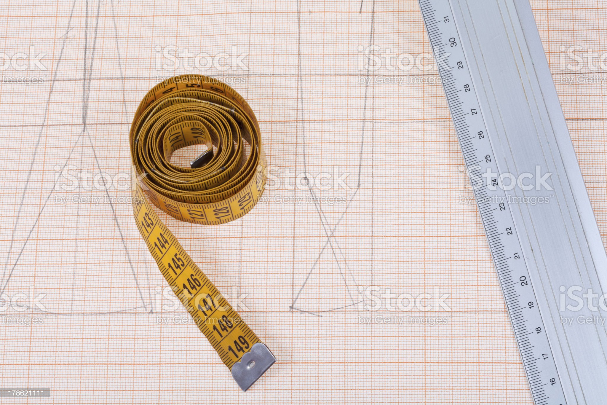 yellow measure tape and metal ruler royalty-free stock photo