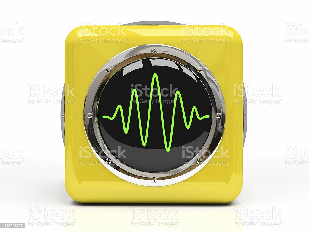 Yellow measuring instrument (oscillograph) isolated on stock photo