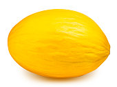 Yellow melon isolated on white background with clipping path