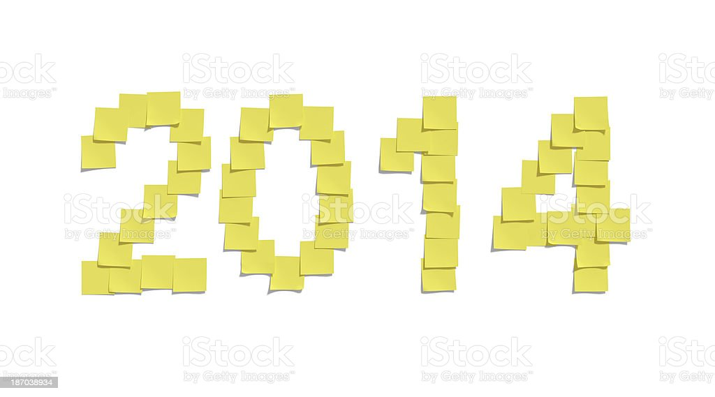 Yellow memo notes illustrating 2014 and including clipping path royalty-free stock photo
