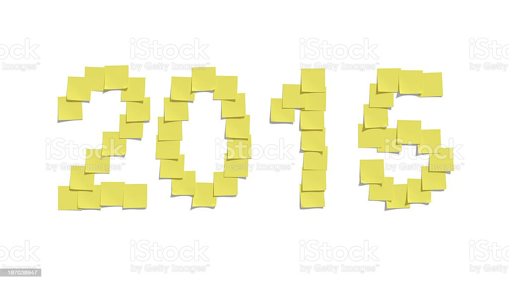 Yellow memo notes illustrating 2015 and including clipping path royalty-free stock photo