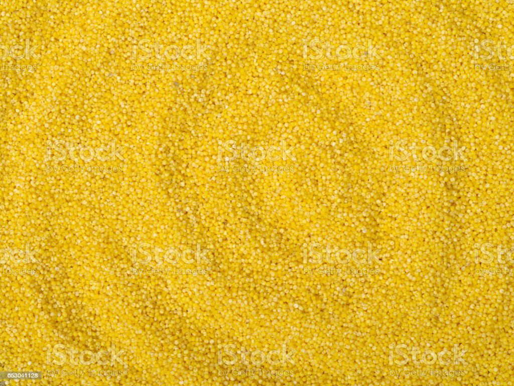 Yellow millet as backround macro close up stock photo