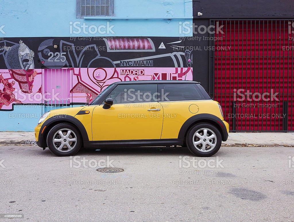 yellow Mini Cooper stock photo