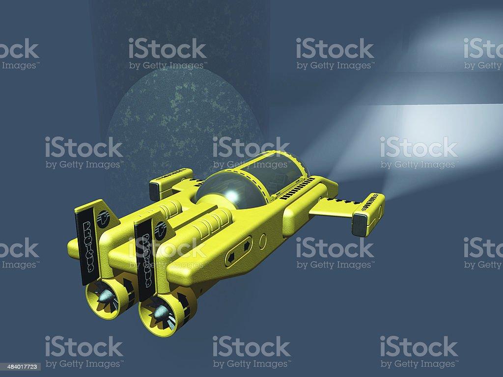 Yellow mini submarine stock photo