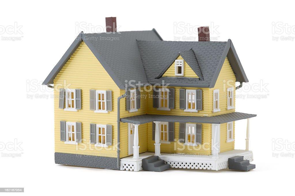 Yellow Miniature House Isolated on White stock photo