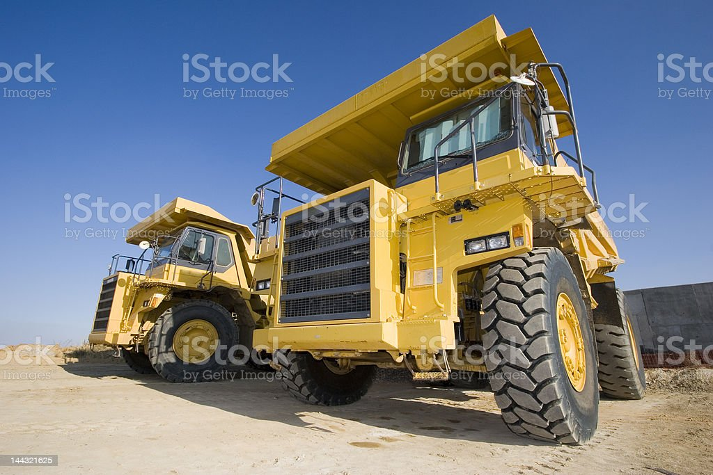 Yellow mining trucks royalty-free stock photo