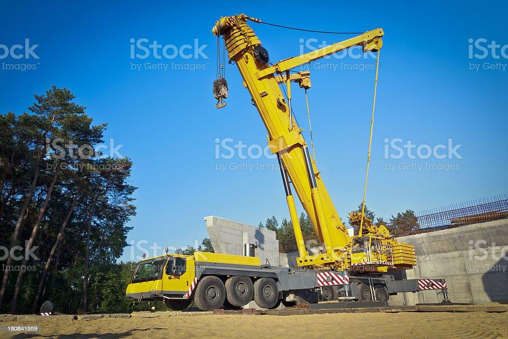 Yellow Mobile Crane stock photo